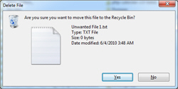 Windows 7 confirms file / folder deletion