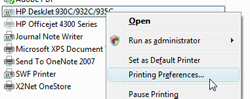 Printing preferences in Windows Vista