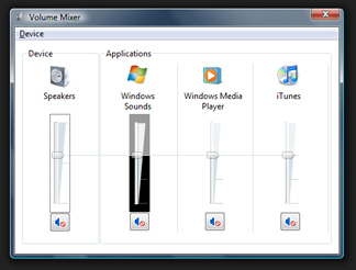 The speaker (volume) icon in Windows Vista's taskbar